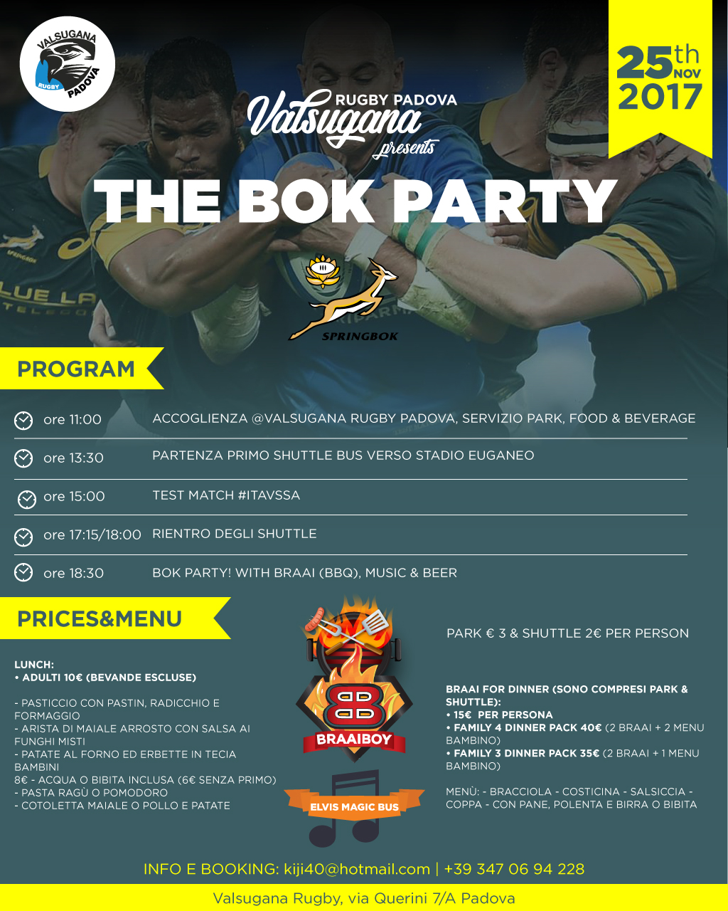 The BOK party! Test match ITA vs RSA