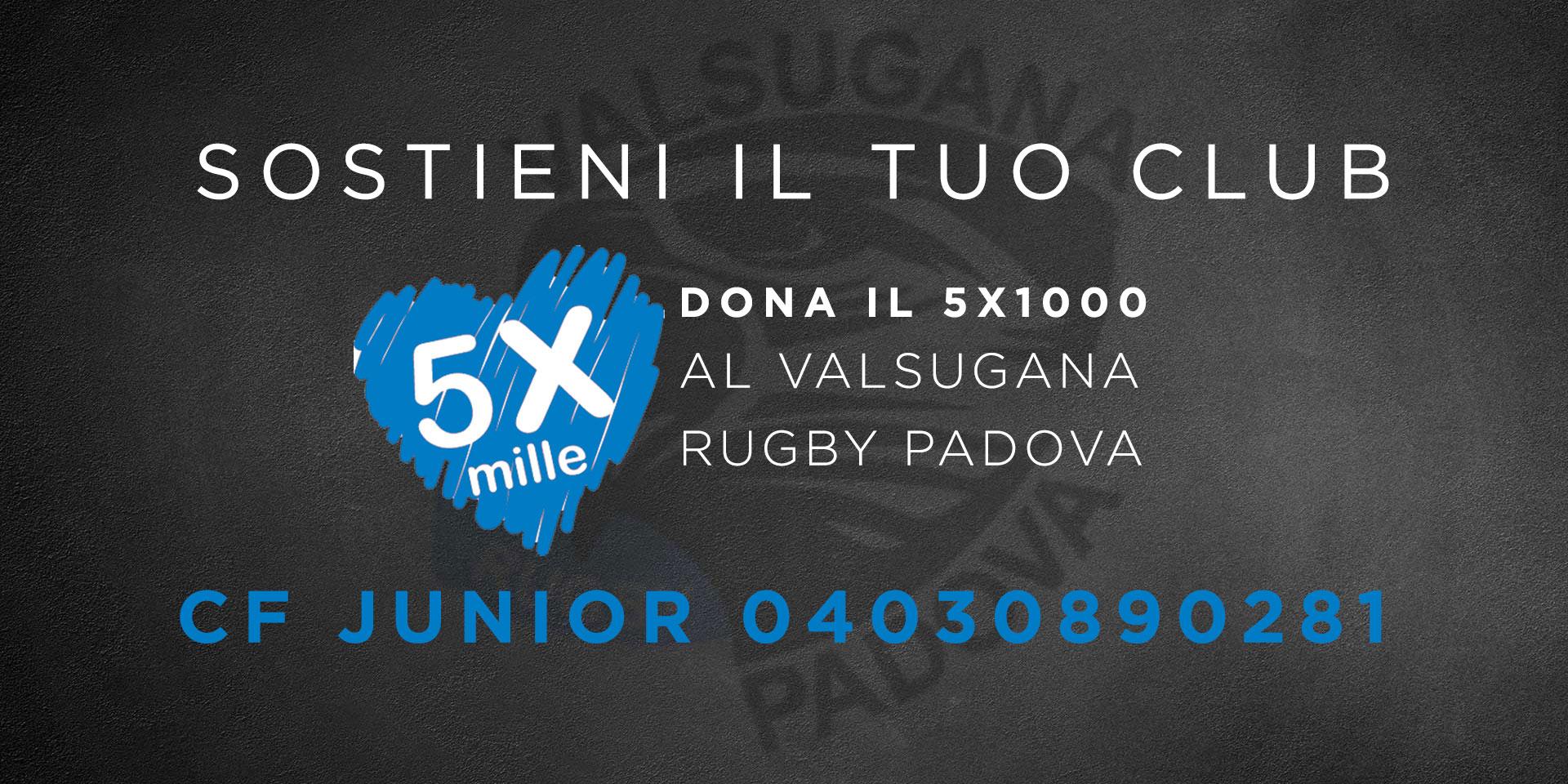 5X1000 a favore del Valsugana Rugby Padova