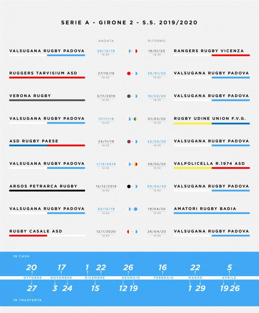 Calendario Maschile 2020.Campionato Di Serie A S S 2019 2020 Valsugana Rugby Padova